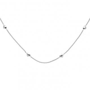 Collier Halskette Herz Herzen 585 Gold Weißgold 45 cm Kette Weißgoldkette