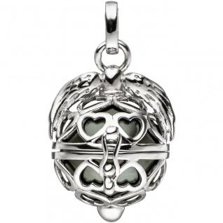 Anhänger Kugel zum Öffnen Herz Flügel 925 Sterling Silber mit dunkler Perle