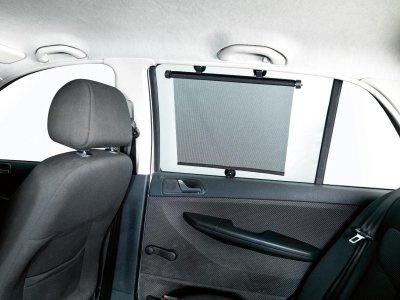 2 Stück Universal KFZ PKW Auto Sonnenrollos 43x58 cm mit Saugnäpfen schwarz, Sonnenschutz Rollos, Fenster Rollos - Vorschau 2