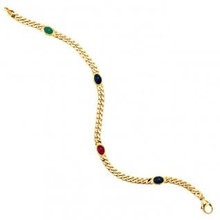 Armband 585 Gold Gelbgold massiv 19 cm Safir Rubin Smaragd Cabochon Goldarmband