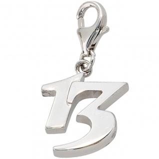 Einhänger Charm 13 Dreizehn 925 Sterling Silber rhodiniert