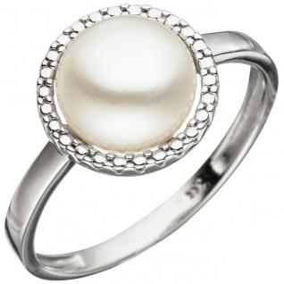 Damen Ring 333 Gold Weißgold 1 Süßwasser Perle Perlenring Weißgoldring