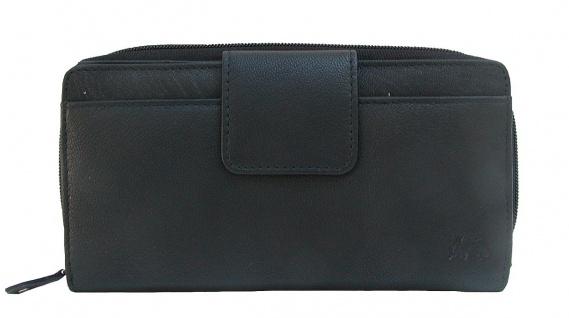 Dolphin minimalistische Damen Leder Reißverschluss Börse schwarz, 12xCC, 3 Sc...