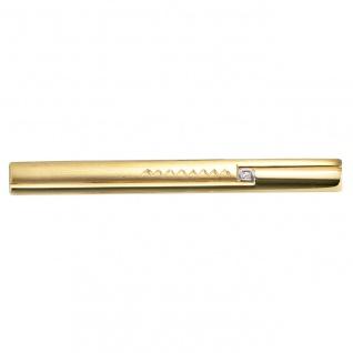 Krawattenschieber 333 Gold Gelbgold bicolor teil matt 1 Zirkonia