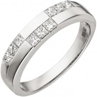 Damen Ring 585 Gold Weißgold 9 Diamanten im Carree Schliff Weißgoldring