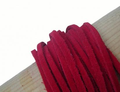 10 Stück Velourleder Rindleder Vierkantriemen rot am Bund, Länge 100 cm, Stär...