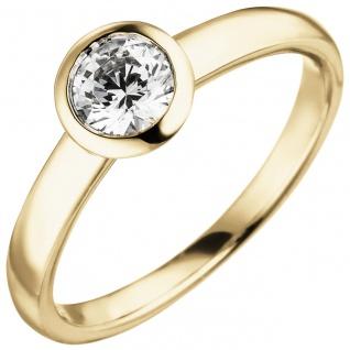 Damen Ring 585 Gold Gelbgold 1 Diamant Brillant 0, 50 ct. Diamantring Solitär