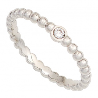 Damen Ring Kugel 950 Platin 1 Diamant Brillant 0, 05ct. Kugelring Platinring