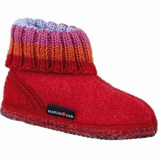 Haflinger Paul Damen und Mädchen Walkstoff Hüttenschuhe rot, flexible Laufsohle