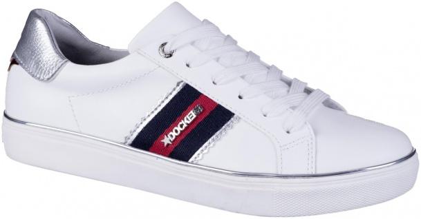 DOCKERS Damen Leder Imitat Sneakers weiss, Textilfutter, softes Fußbett
