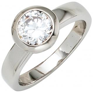 Damen Ring 925 Sterling Silber rhodiniert 1 Zirkonia Silberring - Vorschau 1
