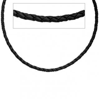 Leder Halskette Kette Schnur schwarz 50 cm Karabiner 925 Silber