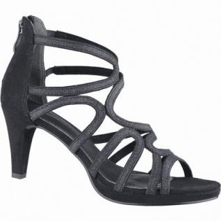 Marco Tozzi modische Damen Synthetik Sandaletten mit Glitzer schwarz, Fersen-Reißverschluss, weiche Decksohle, 1440137/37