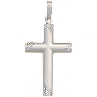 Anhänger Kreuz 925 Sterling Silber mattiert Kreuzanhänger Silberkreuz - Vorschau
