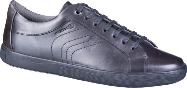 GEOX Herren Glattleder Sneakers black, Meshfutter, weiches Geox Fußbett
