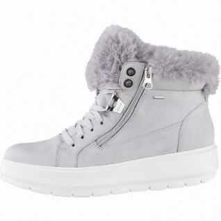 Geox kuschelige Damen Leder Winter Boots hellgrau, 10 cm