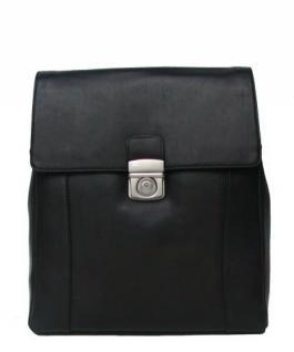 Top Damen Leder Stadtrucksack schwarz, DIN A4, 5 Fächer, key-holder, Schloss