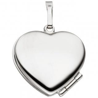 Medaillon Herz für 2 Fotos 925 Sterling Silber eismatt Anhänger zum Öffnen - Vorschau 3