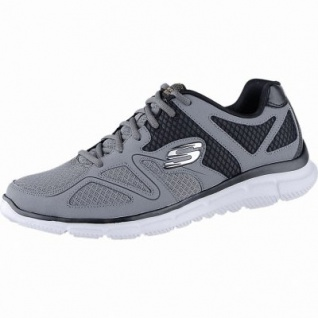 Skechers Verse Flash Point modische Herren Leder Mesh Sneakers charcoal, Skechers Memory Foam Fußbett, 4240164