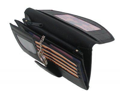 Bianci Leder Damenbörse schwarz, 2 x RV-Innenfach, 4 x Ausweis, 5xCC, 3-gt. Kleingeldfach, EK-Chip, ca. 15x9, 5 cm