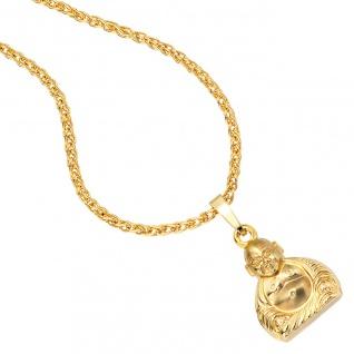 Anhänger Buddha 333 Gold Gelbgold mattiert Goldanhänger