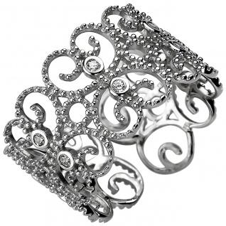 Damen Ring offen 925er Sterling Silber mit 10 Zirkonias, ca. 11, 6 mm breit, S...
