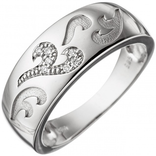 Damen Ring 585 Gold Weißgold 7 Diamanten Brillanten 0, 04ct. Weißgoldring