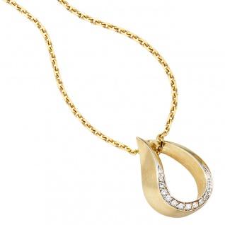 Anhänger Tropfen 585 Gold Gelbgold bicolor teilmatt 10 Diamanten Brillanten