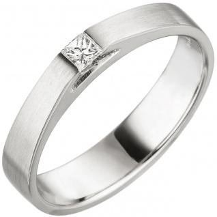Damen Ring 950 Platin matt 1 Diamant Princess Schliff 0, 07 ct. Platinring