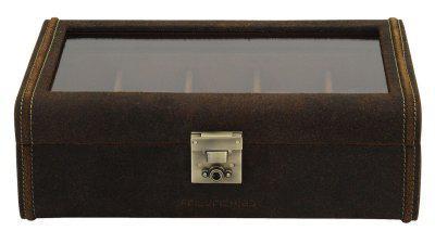 Friedrich Lederwaren großer Antik Rindleder Uhrenkasten für 8 Uhren braun, Schloss, Glasdeckel, Serie Cubano, ca. 29x19x9, 5 cm