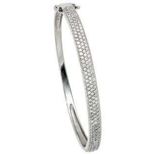 Armreif Armband 925 Sterling Silber mit Zirkonia Silberarmreif Klappverschluss