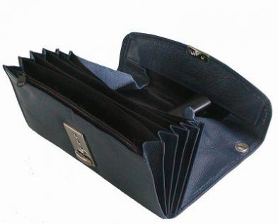 große Leder Kellner Geldbörse dunkelblau, 7 Fächer + Kleingeldfach, Öse, 18 cm breit, 9-11 cm hoch - Vorschau 2