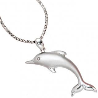 Anhänger Delfin 925 Sterling Silber rhodiniert mattiert Delfinanhänger