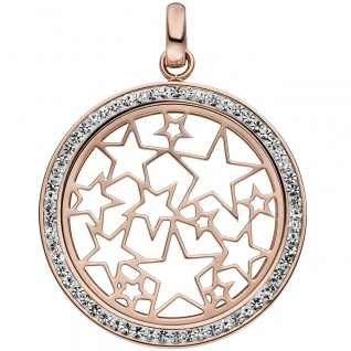 Anhänger Stern Sterne Edelstahl rotgold farben beschichtet mit Kristallen