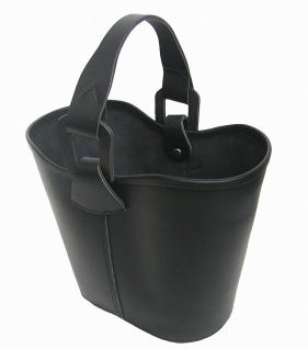 Leder Einkaufskorb schwarz, Blankleder pflanzlich gegerbt, Leder Papierkorb, ...