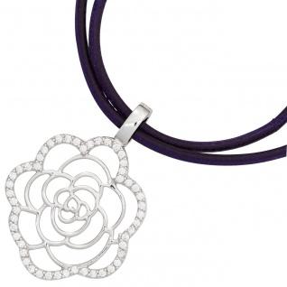 Anhänger Einhänger Blume 925 Sterling Silber rhodiniert mit Zirkonia