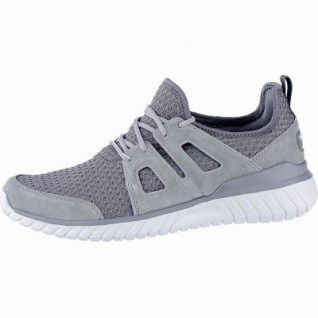 Skechers Rough cut coole Herren Leder Mesh Sneakers charcoal, Skechers Air Cooled Memory Foam-Fußbett, 4240168/43