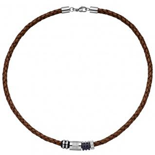 Collier Halskette Leder braun mit Edelstahl teilplattiert 45 cm Kette Lederkette - Vorschau 2