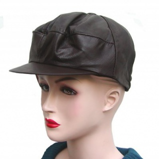 coole Damen, Herren Ziegenleder Ledermütze dunkelbraun, Lederkappe, Leder Cabriomütze, Größe XL=54 cm