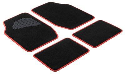 Komplett Set Universal Auto Fußraum Matten Matrix rot 4-teilig, Anti Slip, rutschfest, Autoteppiche, Auto Fußmatten