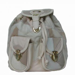 Bellini kleiner Damen Rucksack beige, Leder im Patchwork-Style, 1 Hauptfach, 2 aufgesetzte Taschen, 26x22x14 cm