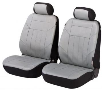 2 Stück Universal Autositzbezug Kunstleder Soft Nappa grau für Vordersitze