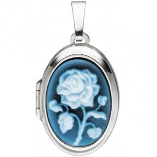 Medaillon oval 925 Sterling Silber 1 blaue Achatgemme zum Öffnen