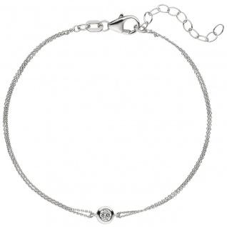 Armband 925 Sterling Silber 1 Zirkonia 19 cm Silberarmband