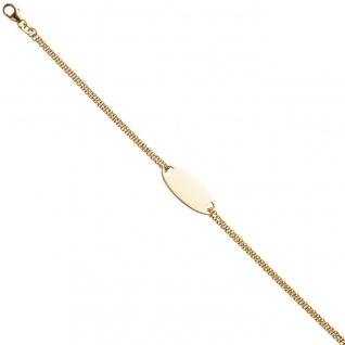 Schildband 925 Sterling Silber gold vergoldet 19 cm Gravur ID Armband Karabiner