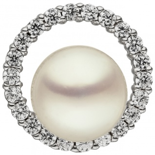 Anhänger 925 Sterling Silber 1 Süßwasser Perle 22 Zirkonia Perlenanhänger