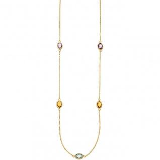 Collier Halskette Kette 585 Gold Gelbgold 2 Amethyste 2 Citrine 1 Blautopas