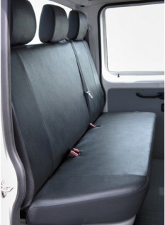 Kunstleder Autositzbezug VW T5 anthrazit waschbar, 3er Rückbank Pritsche, Baujahre 04/03-08/09