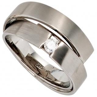 Damen Ring 585 Gold Weißgold matt 1 Diamant Brillant 0, 12ct. Weißgoldring