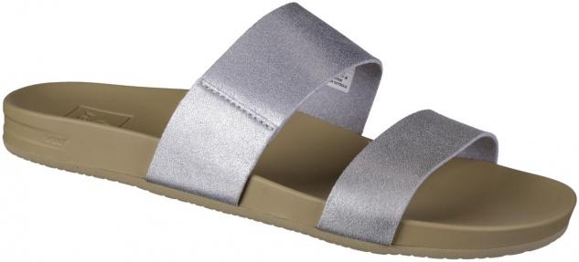REEF Cushion Bounce Vista Damen Synthetik Pantoletten silver, weiches Fußbett